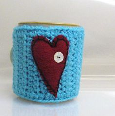 Items similar to Coffee Mug Cozy Crochet Cup Sleeve Felted Red Heart on Turquoise Mother of Pearl Vintage Buttons on Etsy I Love Coffee, My Coffee, Crochet Coffee Cozy, Mug Warmer, Hot Cold Packs, Cup Sleeve, Mug Cozy, Crochet Kitchen, Mug Rugs