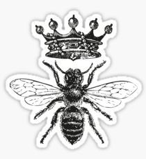 Queen stickers featuring millions of original designs created by independent artists. White or transparent. Queen Bee Tattoo, Queen Crown Tattoo, Tatuagem Old Scholl, Bumble Bee Tattoo, Tattoo Filler, Big Bee, Crown Drawing, Black And White Stickers, Marquesan Tattoos