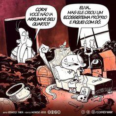 Vocês sabiam que nossa colunista @monisereis é quem pensa nos argumentos da Cora? #repost @coraefinnir: Bagunça? Quem nunca? A Cora descobriu a resposta perfeita para deixar tudo como está :p (siga CORA & FINNIR nas redes sociais é tudo /coraefinnir)  #quadrinho #hq #tirinha #cartum #ilustracao #illustration #webcomic #comic #humor http://ift.tt/2BudvCI