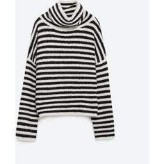 Zara Striped Sweater (€20) ❤ liked on Polyvore featuring tops, sweaters, jumpers, tan, zara jumpers, white striped sweater, tan top, white sweaters and striped top