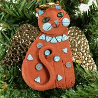 Melody O'Beau Designs: Angel Cat Christmas Ornament, faux Terracotta and Turquoise with Sedona Red Rock Dirt in Polymer Clay matrix