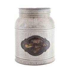 Large Galvanized Metal Jar with Label Hobby Lobby 5.2x9.2