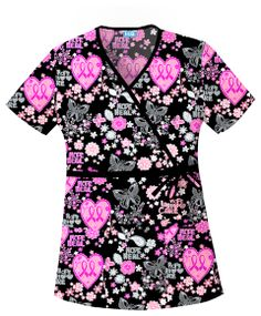 Cherokee Tooniforms Cotton Let Your Heart Soar Contrast Mock Wrap Scrub Top - Breast Cancer Awareness Nursing Uniform Medical Uniforms, Nursing Uniforms, Cute Scrubs, Scrubs Uniform, Cherokee Scrubs, Medical Scrubs, Nursing Scrubs, Scrub Tops, Work Attire