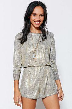 Pins And Needles Metallic Draya Romper #urbanoutfitters #romper