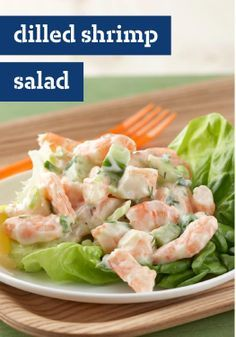 Dilled Shrimp Salad – Creamy with mayo and sour cream and served on Boston lettuce leaves, this Dilled Shrimp Salad is one of those Healthy Living recipes everyone will love!