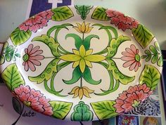 Large oval platter painted by Mary at Damariscotta Pottery