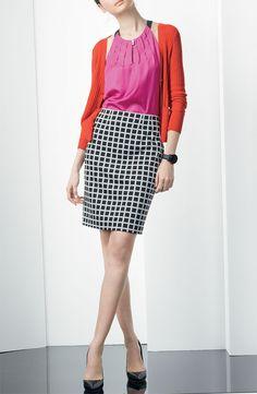 Halogen® Pleated A-Line Blouse, V-neck Cardigan, & Ponte Pencil Skirt #Nordstrom #AugustCatalog
