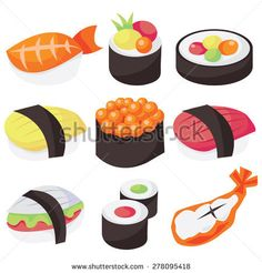 A vector illustration set of nine different types of sushi.