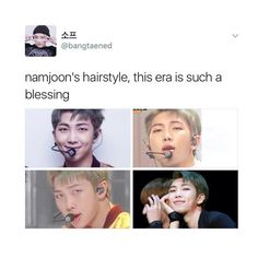 we are living in a generation where kim namjoon and his amazing hairstyles exist we should be grateful