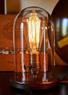 Edison lamp in a vintage bell jar. Industrial Lighting, Industrial Chic, Industrial Closet, Industrial Bookshelf, Industrial Door, Industrial Bedroom, Industrial Office, Rustic Lighting, Industrial Furniture