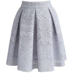 Chicwish Lacy Airy A-line Skirt in Grey ($42) ❤ liked on Polyvore featuring skirts, grey, lace a line skirt, gray lace skirt, grey skirt, gray a line skirt and lacy skirt