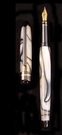 Handcrafted fountain pen. Fine writing instrument and is refillable.