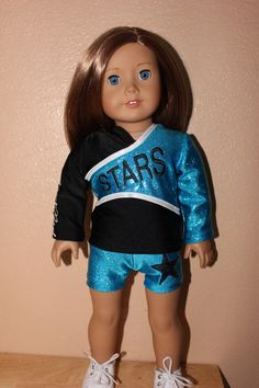 Items similar to Made to order Premier Stars Cheerleader Uniform with bow for American Girl Doll on Etsy Dolly Doll, American Girl Crafts, Birthday List, Girl Dolls, Cheerleading, Ava, Bows, Stars, Girl Stuff
