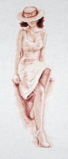 0 point de croix femme au chapeau assise - cross stitch woman, lady sitting with a hat