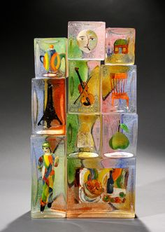 """SONIA'S JOURNEY CIRCA 1925"" Stephanie Trenchard Assembled sand cast glass with sculpted & painted inclusions 12"" x 22 1/2"" x 5"""