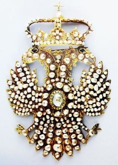 Pendant - a devant de corsage filgree brooch set with pearls in the shape of a double-headed eagle of the House of Austria by Anonymous from Spain (?), fourth quarter of the 17th century, Museum of Applied Arts in Poznań. #filgree #brooch #pearls #artinpl #eagle #appliedarts #poznan Moscow Kremlin, Double Headed Eagle, Imperial Russia, Corsage, 17th Century, Anonymous, Austria, Spain, Museum