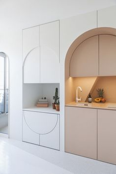 Kitchen Interior Design Built-in drop leaf table in arched Parisian apartment. - And psst! You can rent it Micro Apartment, Small Apartment Design, Small Room Design, Parisian Apartment, Paris Apartments, Apartment Interior Design, Small Apartments, Interior Design Kitchen, Home Design