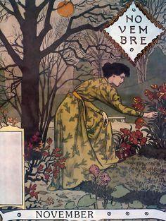 """Eugène GRASSET Calendrier """"La Belle Jardinière"""" 1896 - novembre"""