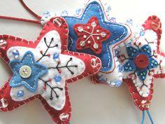 hvězda Severu No.1 Vánoční dekorace v podobě hvězdiček je vyrobena z filcu, bavlnek, rokailu, skleněných korálků, knoflíčku a výplně z dutého vlákna (PES kuličky). Průměr cca 11cm. Zavěšení pomocí saténové šňůrky. Ruční práce.