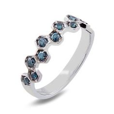 Malakan Jewelry - Platinum-Silver Ladies Treated Blue Diamond Band 78710A2, love this i would so stack them up!
