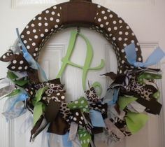 Safari Baby Ribbon Wreath in Chocolate Brown, Zebra, Giraffe, & Cheetah  with Blue for Hospital Door Hanger, baby shower, birthday party. $46.00, via Etsy.