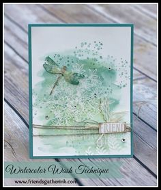 Awesomely Artistic stamp set by Stampin' Up! using watercoloring (watercolor washing/watercolor wash techniques) - Rina Meushaw