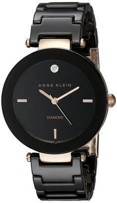 Anne Klein Women's AK/1018RGBK Diamond Dial Rose Gold-Tone Black Ceramic Bracelet Watch -- Find out more about the great product at the image link.