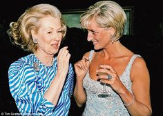 Turbulent relationship: Princess Diana talking With Raine, Countess Spencer. Two letters between the pair were this week withdrawn from sale at a Northamptonshire auction house