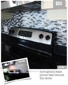 Smart Tiles found at Home Depot, I think I could finally do my backsplash cause these are vinyl stick on tiles.