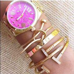 18k Gold Love Knot Nail Bracelet, Silver $14