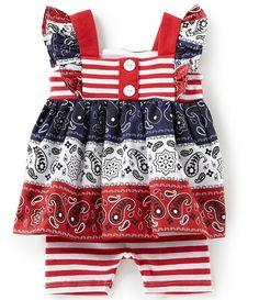 141e63c3d2c Bonnie Baby Baby Girls Newborn-24 Months Americana Mixed-Media Dress    Striped Biker