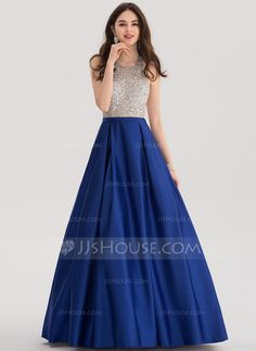 [US$ 164.19] Ball-Gown Halter Floor-Length Satin Prom Dress With Beading Sequins