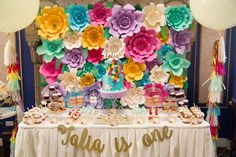 A fabulous 1st birthday garden Tea Party Birthday for a little girl. How stunning is that backdrop?! See more party ideas at CatchMyParty.com