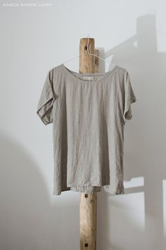 Natural Linen T-Shirt    Comfortable, loose shape, with short kimono sleeves T-shirt made by hand from washed pure linen. Ideal for everyday