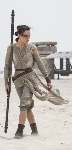 "Daisy Ridley as Rey in ""Star Wars: The Force Awakens"" (2016). Costume Designer: Michael Kaplan"