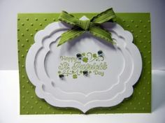 handmade St. Patrick's Day card ... reverse pyramid framing with Label Framelits ... like the effect ... Stampin' Up!