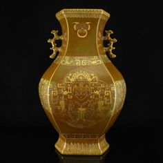 Superb Chinese Gilt Gold Tea Dust Glaze Porcelain Vase