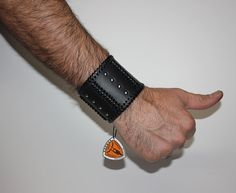 Black Leather Cuff Bracelet Leather Wristband with by TaurusSeats