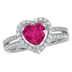 Zales 7.0mm Heart-Shaped Lab-Created Ruby and White Sapphire Heart Frame Ring in Sterling Silver