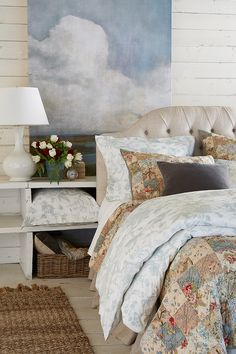 Just began process of pulling together a dreamy, cozy room.  Fun that I found this;  just bought a Noble Excellence quilt:  Gianna -- will work beautifully with the sky blue and neutrals.