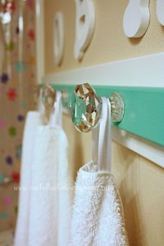 bathroom towel rack makeover maybe a doorknob instead of hand towel rack.I love this my kids always seem to leave towls on the floor cause of no room this would be handy! Diy Bathroom Towel Hooks, Laundry In Bathroom, Bathroom Signs, Bathroom Ideas, Seaside Bathroom, Washroom, Laundry Rooms, Bathroom Wall, Bathroom Inspiration