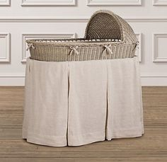 bassinet and washed organic linen bedding set