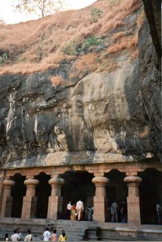"""Elephant Caves.  Located in a small island called """"Elephanta"""" in the city of Maharastra. The caves are of unknown date and attribution since no inscriptions have been found in any of the caves.   Mumbai, INDIA."""