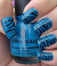 Zebra Nail Art on China Glaze Shower Together