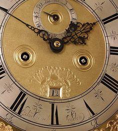 Antique Longcase Clocks, Century Marquetry Longcase Clock By Crouch. A fine London Marquetry longcase clock retaining its original caddy top. Marquetry, 17th Century, Clocks, Around The Worlds, London, Antiques, Antiquities, Antique