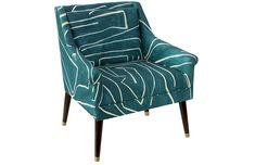 Carson Accent Chair, Teal/Sand $745.00
