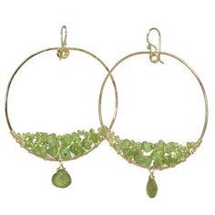 Hoop earrings with Peridot Green Idocrase by CalicoJunoJewelry