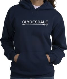 Clydesdale Horse Lovers Navy Blue Hoodie with Soft Feel Lettering