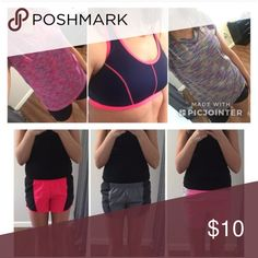 LAST CALL CLEAROUT: 6 Workout Clothing Items LAST CALL USED CLEAR OUT!!! Will be removed 4/16/18 - lowest price being offered.  This is a bundle for ALL 6 WORKOUT GEAR ITEMS that are listed in my closet (Shorts, Shirts, Sports Bra)!! Please see individual listing for full descriptions. Keep or re-posh :)  Size XS Workout Shorts: Pink/Grey Size S Workout Shorts: Pink/Black and Grey/Black Size S Workout Shirts: Both multicolor Size M Sports Bra - Blue/Pink, lightly padded Champion, Danskin…