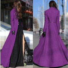Elegent Womens Wool Blend Slim Fit Winter Autumn Floor Length  Dress Long Coats #Unbranded #Trench
